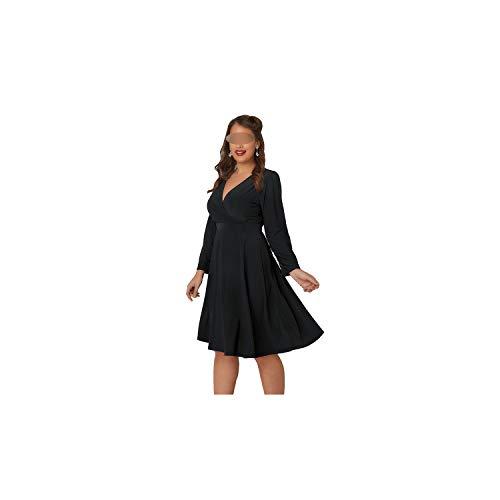 Frauen lösen Wrap mit V-Ausschnitt Solide Büro-Dame Long Sleeve High Waist Lace Up Midi A-Linie Kleid,Schwarz,6XL -