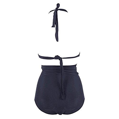 Sasairy Damen Retro Hohe Taille Bikini Set High Waist Frauen Badeanzug Vintage Bademode Plus Size Schwarz Schwarz