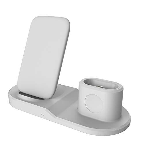 Wireless-Ladestation 3 in 1 Aluminiumständer für Apple iWatch, Qi Fast Ladestation für iPhone/Apple Airpods,Ladestation für iPhone XS Max/XR/XS/X/ 8/8 Plus/Samsung/Nokia/Google Nexus/LG (White) (Googles Platz)