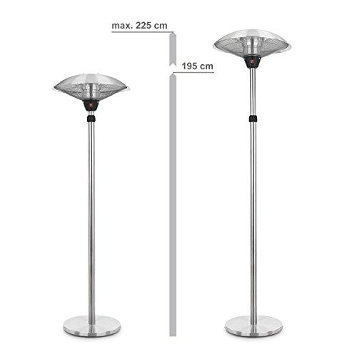 blumfeldt Heat Guard • Heizstrahler • Terrassen-Heizpilz • Standheizer • IP44 • 3 Stufen: 900, 1200 und 2100 W • höhenverstellbar • witterungsbeständig • Aluminium-Standfuß • 1.8 m Netzkabel • silber - 6