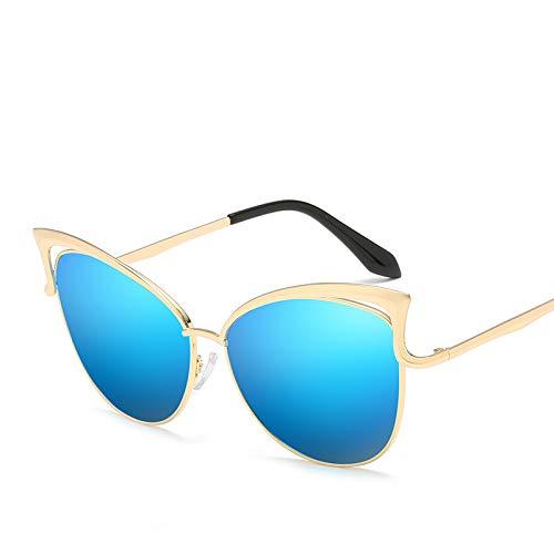ZJWZ Cat Eye Sonnenbrille Damen Sonnenbrille Mode Sonnenbrille Persönlichkeit Damen Brille Trend Katze Brille,Gold,icebule