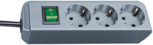 Brennenstuhl Eco-Line 3-fach Steckdosenleiste (Steckerleiste mit Kindersicherung, Schalter und 1,5 m Kabel) silbergrau