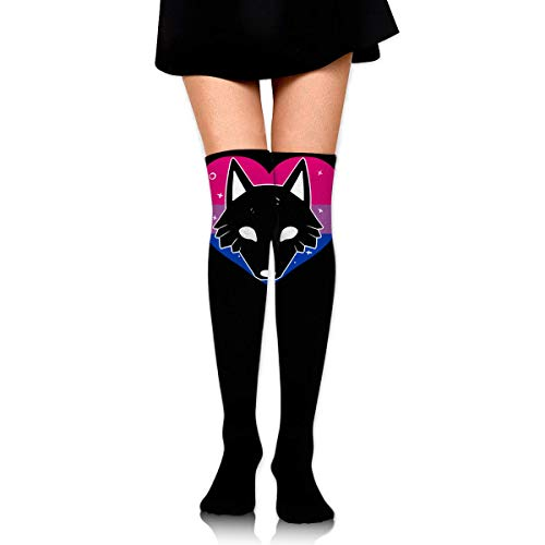 Bi Bisexual Pride Flag Animal Fox Female Ladies Women Girl Teen Kid Youth Leg Tall Mid Thigh High Knee Long Tube Over The Knee Stocking Costume Gifts Clothes Dresses Apparel Thy Thi Hi Attire -