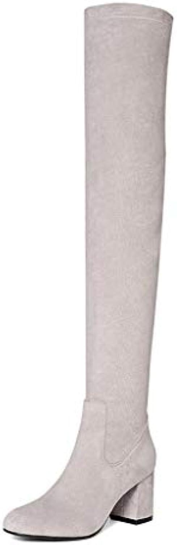 Automne Hiver Bottes à talons épais pour femmes avec avec avec bottes au genou Bottes pointues Fermeture à glissière latérale...B07K32CSZ1Parent c7ca53