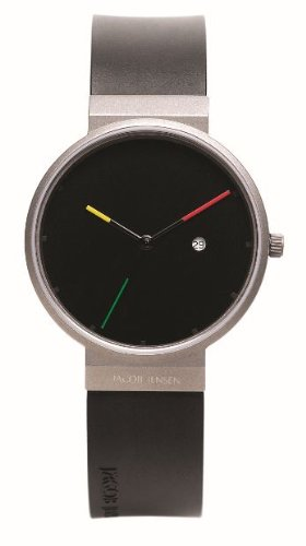 Jacob Jensen Titanium Series Men's Quartz Watch with Black Dial Analogue Display and Black Rubber Strap 640