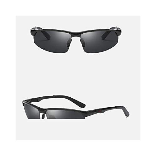 Sportbrillen, Angeln Golfbrille,Fashion Sunglasses Men Aluminum Magnesium Square Polarisiert Sun Glasses Photochrom Chameleon Driver Driving Polaroid Glasses black-grey