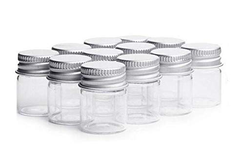 5ml Vials Clear Glass Bottles Candy Bottle with Aluminum Screw Top Strong Cute Empty Sample Jars Small Containers For Message Bottle Samples Wedding Favors Wedding decorations Jewelry Accessories (12) (Gläser Favor Wedding)