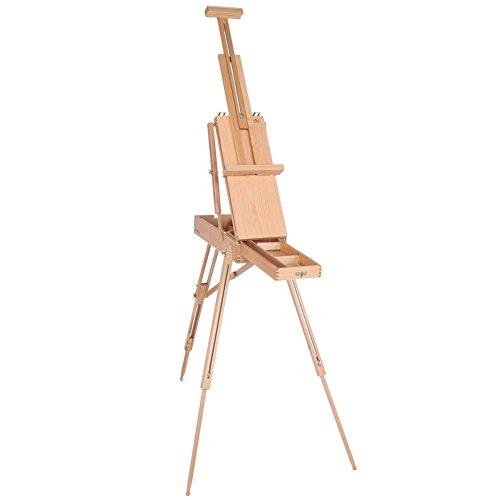 Malerei Staffelei, Hölzern Buchenholz Faltbar Kofferstaffelei als Feld- + Tisch-Staffelei nutzbar Hobby Künstler Staffelei mit eine kleine Schublade(Klein) -
