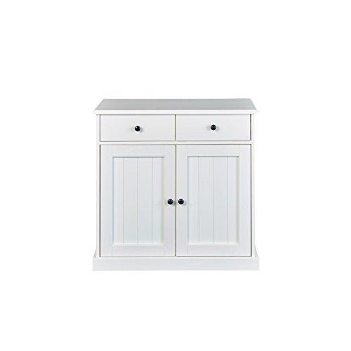 2 Tür, 2 Schublade Sideboard (Inter Link Landhausstil Kommode mit 2 Schubladen 2 Türen Massivholz weiß Esszimmer Küche)