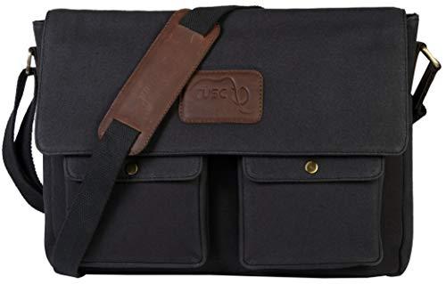 TUSC Atlas Segeltuch/Canvas Tasche Laptoptasche 15 Zoll 14 Zoll Herren Damen Umhängetasche Aktentasche Schultertasche für Büro Messenger Bag für Laptop iPad, Größe- 38x28x9 cm -