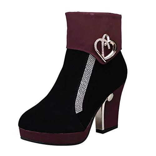 feiXIANG Damen Stiefel Elegant Strass High Heels Schuhe Winterstiefel Short Boots Mode Brautschuhe Winter (Wein,36)