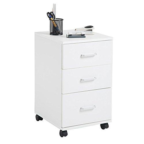 Schreibtisch Schrank Weiß (CARO-Möbel Rollcontainer Jupiter Bürocontainer Büroschrank, in weiß, mit 3 Schubladen, 35 x 60 x 40 cm)