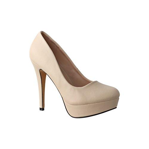 Elara Plateau Pumps | Bequeme Damen High Heels | Abend Schuhe | Chunkyrayan | TY787 Beige-39