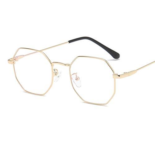Shiduoli Fashion Eyewear Brillen mit klaren Gläsern Unisex Stilvolle Brillen für Damen und Herren (Color : Gold)