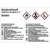 Gefahrstoffkennzeichnung Ottokraftstoff gemäß GHS 7,4 x 10,5cm Folie mit mattem Laminat Abmessung des Kennzeichnungsschildes für Gebindegröße 3 - 50 Liter