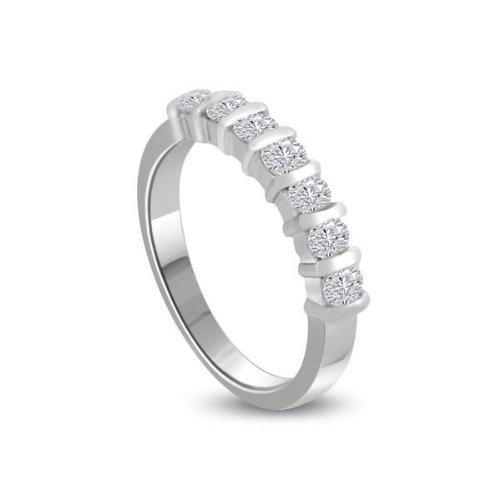 1.26ct H/SI1 Diamante Half Eternity Anello da