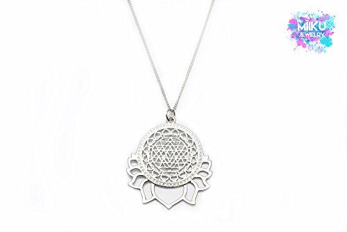 Silberne Sri Yantra Meditationshalkette (Yantra-halskette)