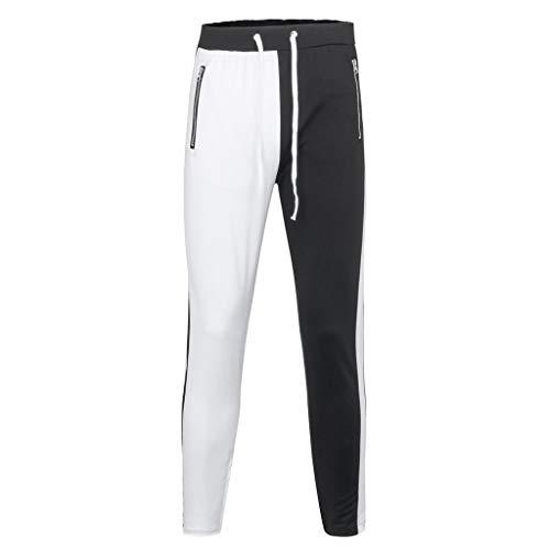 Feinny Herrenhosen Shorts Jeans/Herren Mode Persönlichkeit in der Taille Nähte Farbe Gurtbänder lässig Reißverschluss Werkzeug Hose/Weiß/M-3XL