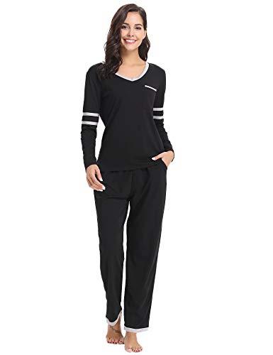 Aiboria Damen Pyjama Schlafanzug V-Ausschnitt Baumwolle Lang Freizeithosen Jerseyhose Schlafanzughose Set Pant Zweiteiliger Anzug Nachtwäsche