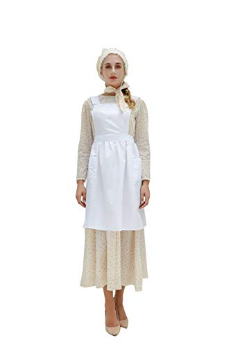 Frauen Kostüm Colonial - NSPSTT Damen Prairie Fancy Dress Vintage Viktorianischen Colonial Bauer Kostüm mit Mütze & Schürze EU46