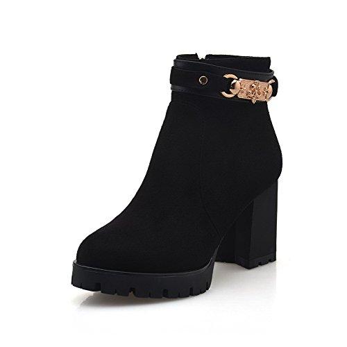 VogueZone009 Damen Blend-Materialien Niedrig-Spitze Rein Reißverschluss Hoher Absatz Stiefel Schwarz