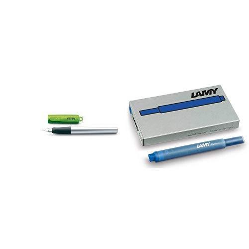 Lamy FH20451 -Füllfederhalter Nexx, Feder: M,Modell 086,lime & T10 Tintenpatronen blau (1 Päckchen mit 5 Patronen)
