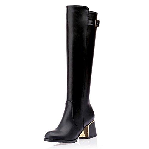 COOLCEPT Damen Elegant Schuhen mit hohen Absätzen Reißverschluss Blockabsatz knie hoch stiefel Schwarz