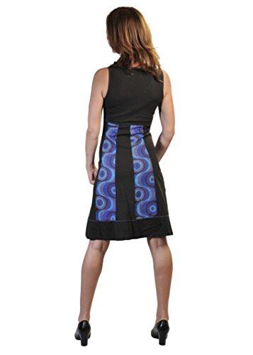 Damen-Sommer-Sleeveless V-Ausschnitt-Kleid mit Blasen-Druck und Stickerei Schwarz