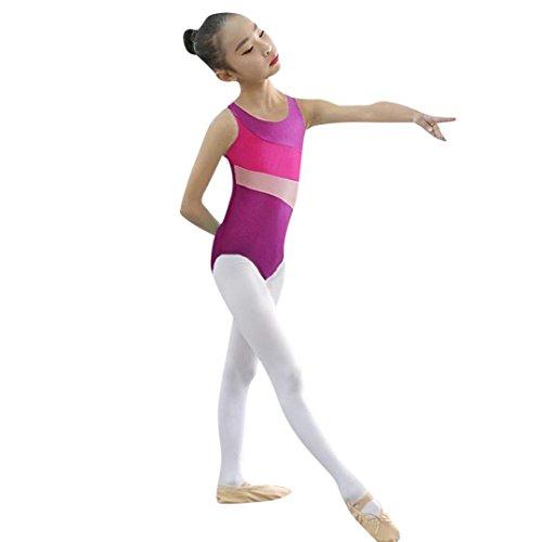 chen Trikots Ballett Playsuit Tutu Kleid Mädchen Leotards Ballet Bodysuit Dress Tanzkleidung Outfits für Kinder Baby Dancewear Gymnastik Klassische Bekleidung (Purple, Size:5T) ()
