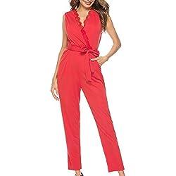 Fancyinn Combinaison Femme ete sans Manches Pantalon Jumpsuit Romper,Rouge,L(42-44)