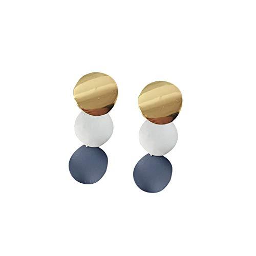 Eudola Damen Ohrringe Mode Ohrringe Vintage Metall Disc Cutout Ohrstecker Geometrische Runde Ohrringe (Blau 1)