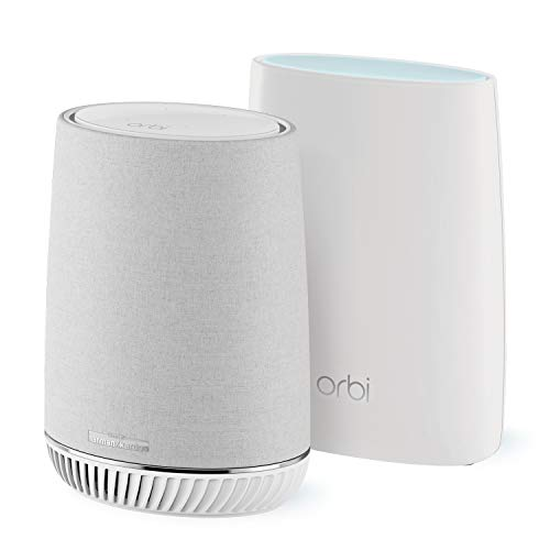 NETGEAR RBK50V-100EUS Orbi Mesh Wi-Fi System with Orbi Voice Wi-Fi Satellite, Smart Speaker, Amazon Alexa Built-In, White