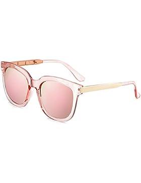BOZEVON Hombre y Mujeres Moda Oval gafas de sol Retro Color Marco de metal UV400 de protección