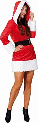 Ladies Sexy Hooded Miss Santa Mrs Claus Xmas Christmas Festive Fun Noel Fancy Dress Costume Outfit (UK 12 (EU 40))