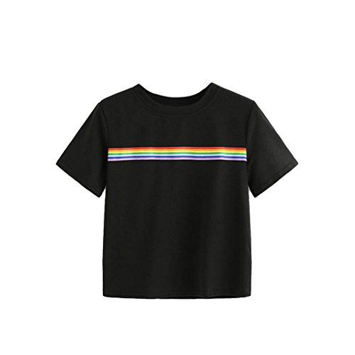 TUDUZ Damen Sommer Rainbow Block Gestreifte Crop Top Schulmädchen Teen T Shirts Bluse Oberteil