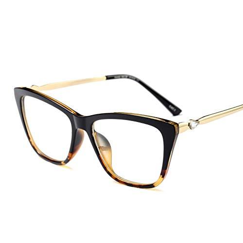 Easy Go Shopping Ultraleichtes Rechteck für Damen Stilvoller Brillengestell Sonnenbrillen und Flacher Spiegel (Farbe : Black/Leopard)