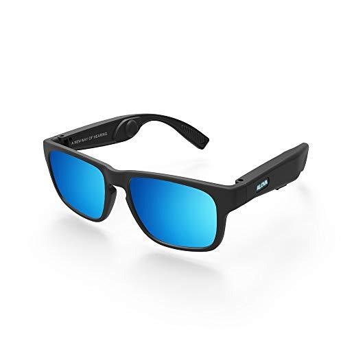WMWHALE Knochenleitungsbrille Drahtlose Bluetooth 5.0 Touch-Funktion Polarisierte Sonnenbrille Polarisierte UV400 TAC-Linse Audio-Kopfhörerbrille,Blue