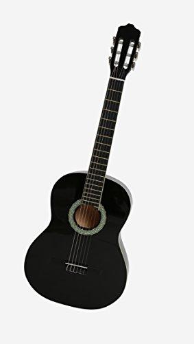 NAVARRA Konzertgitarre 4/4 schwarz mit cremefarbigen Randeinlagen und leicht gepolsterter Tasche mit Rucksackriemen und Notenfach, 2 Plektren - 4