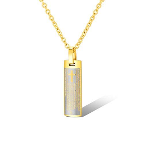 MingXinJia Klassisches Kreuz Männlich Halskette Englischen Flachen Anhänger, Gold