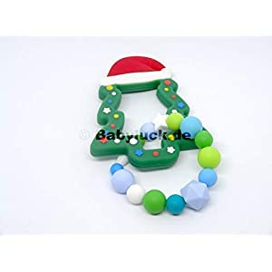 PREMIUM Greifling mit Weihnachtsbaum aus Silikon, Christbaum, Farbwahl, Name optional, Beissring mit Name, Baby Silikon Kauring