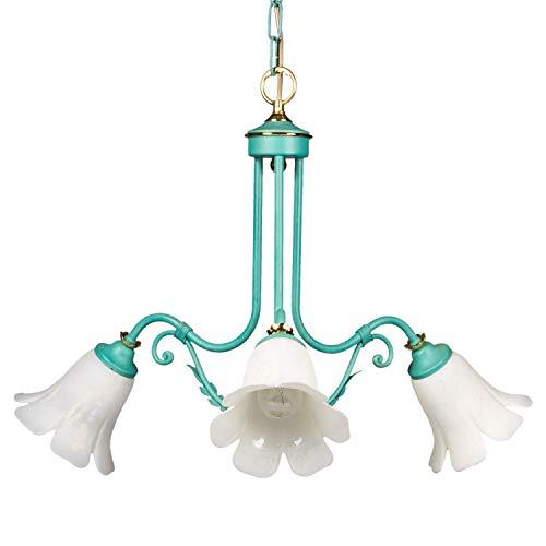Jugendstil Eisen Floral (Helios Leuchten 254032 Florentiner Pendelleuchte grün | florale Lampe Leuchte Pendellampe Jugendstil | 3 x E14)