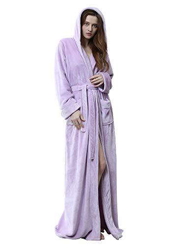 HAINE Damen-Star-Print-Morgenmantel Weiche, Flauschige Fleece-Robe mit Kapuze