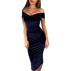 IMJONO Mode FemmesRobe Dames Velours Couleur Unie Un Mot Collier Épaule sans Bretelles DiviséMaxi Cocktail FêteLongueMidi Les Robes Robe de soirée(Bleu,L)