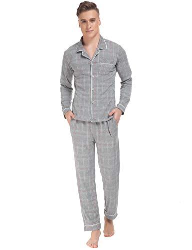 ARBLOVE Causal Pigiama Uomo Cotone Invernale Lungo Camicia da Notte