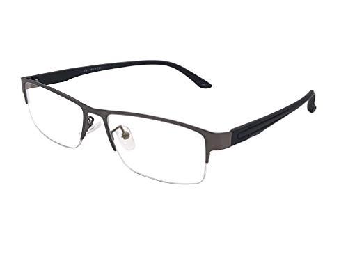 XYAS Rechteck Herren Metall Lesebrille klare linse Brillenfassungen(Matt Schwarz-Schwarz)