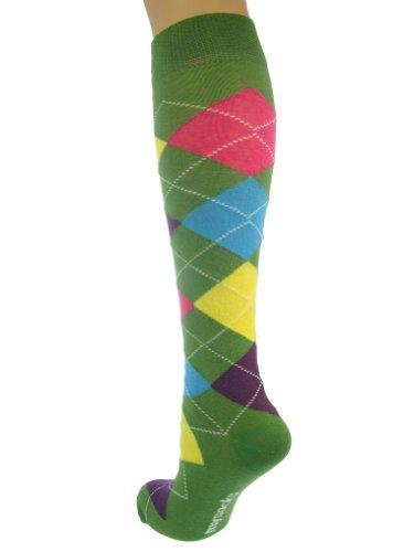 Mysocks® Knie hoch Argyle Socken 4 Farben Grün (Hoch Argyle Knie)