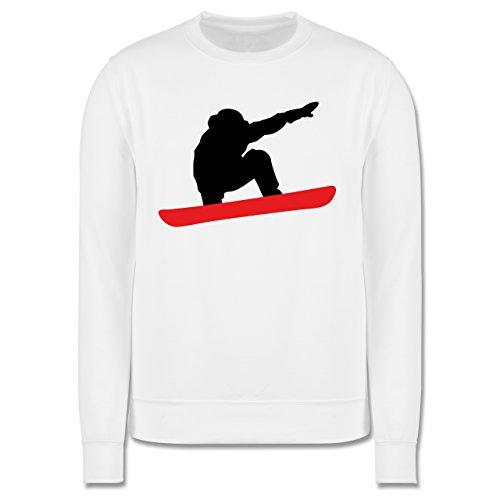 Wintersport - Snowboard Abfahrt Planke - Herren Premium Pullover Weiß