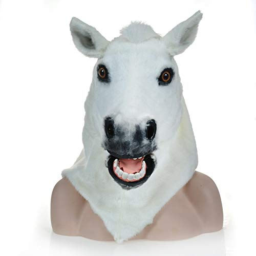 Für Furry Kostüm Verkauf - SCSY-masks Adult Halloween Kostüm Factory Divect Sale Furry Tier Karneval Moving Mouth Mask White Horse Masken (Color : White)