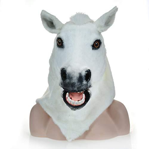 Kostüm Horse White - KX-QIN Factory Divect Sale Pelzigen Tier Karneval Moving Mouth Mask White Horse Masken Deluxe Neuheit Halloween Kostüm Party Latex Tierkopf Maske for Erwachsene und Kinder (Color : White)