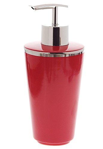 Seifenspender Porzellan, Rot mit Silber-Rand (Platin) Kosmetex